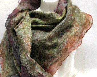 Felted Scarf-Shawl rust green earthtone sheer cashmere-soft nuno merino silk fiber art