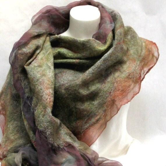 Felted Scarf-Shawl rust green earthtone sheer cashmere-soft nuno merino silk fiber art