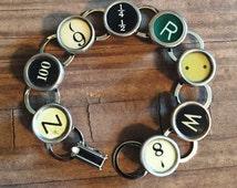Typewriter Key Bracelet Vintage Jewelry Keepsake Writer Gift, Teacher Bracelet