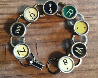Typewriter Key Bracelet Vintage Jewelry Keepsake Writer Gift, Teacher Bracelet