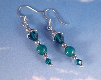 Emerald Green & Green Onyx Sterling Silver Earrings Gemstone Ear Wires Birthstone May Color Drop Dangle Fashion Statement