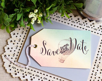 Hot Air Balloon Tag Save the Date - destination wedding - vintage travel wedding - watercolor save the date - spring wedding - balloon