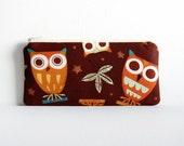 Zipper Pouch Coin Purse Wallet Pencil Case Owls on Brown Amy Schimler On a Whim