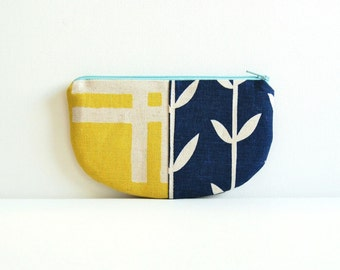 Coin Purse, Small Zipper Pouch, Women and Teens, Mini Wallet, Gift For Her, Blue and Yellow