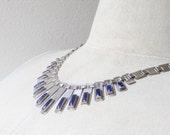 Vintage Bezel Set Lapis Stone Sterling Silver Handmade Necklace, OOAK, marked sterling