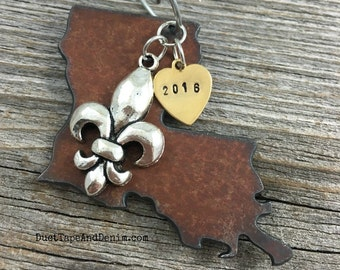 LOUISIANA | Rustic 2016 Christmas Ornament | Fleur de Lis New Orleans Bourbon Street Charms, Handstamped Brass Tag