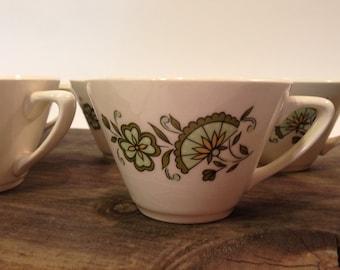 Mt Clemens Pottery Tea Cup ~ McCoy Pottery Tea Cup ~ Vintage Green Floral Teacup ~ Set of Seven Teacups 1960s ~ McCoy Pottery