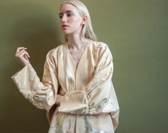 reversible batwing hand painted kimono style jacket / oversized coat / avant garde jacket pant set / s / m / l / 699o