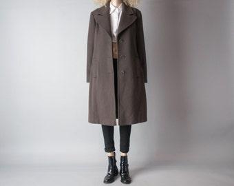 ISAAC MIZRAHI brown wool coat / classic coat / winter coat / s / m / 917o