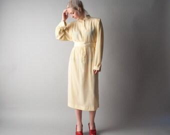dear jenny yellow print tent dress / vintage 70s dress / floral print dress / s / 1698d