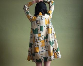 60s geometric abstract print MOD dress set / silk vest mod mini dress set / m / 1815d