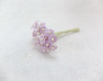 25 8mm lilac mulberry paper flowers