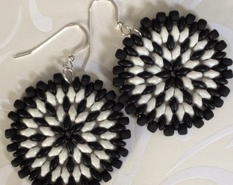 Seed Bead Earrings - Big Bold Black and WhiteDisc Earrings - Beadwork Jewelry - Statement Jewelry