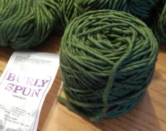 Burly Spun Super Bulky Kiwi Green Wool Yarn Cake Soft Wound Ready to Ship Brown Sheep