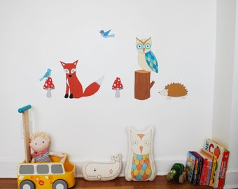 Forest Friends Fabric Wall Decal Set, Nursery Wall Art, Nursery Wall Decal, Wall Decals Nursery, Forest Animals for Nursery Made in USA