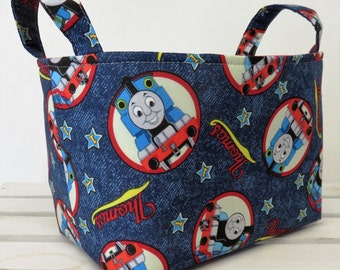 Storage and Organization - Fabric Organizer Container Bin Basket Bag - Made with Thomas Train Fabric