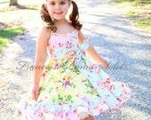 Yellow pink blue Easter dress, ruffled birthday dress, floral dress, bird print dress, slip twirl dress spring summer formal dress baby girl