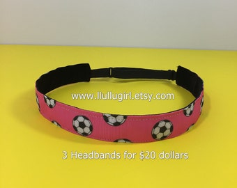 Soccer Headband - Pink Soccer Headband - Non-Slip Headband - Adjustable Headband - One Size Fits All - 3 Headbands for 20 dollars