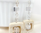 Last Chance 30% Off - RED TAG CLEARANCE - Squares - Cubed, Clear on Cream, Dangle Earrings, Plus Size Jewelry