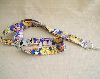 dogs and cats - handmade fabric lanyard