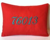 Zip Code Pillow Cover. House Number Monogram Throw Pillow 12 x 16. Housewarming Gift. First Apartment. Dorm Decor. Hometown. SewGracious.