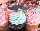 24 Mustaches and lashes cupcake toppers