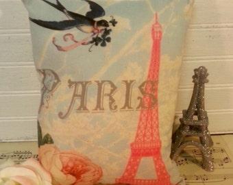 Shabby French Pink Eiffel Tower Paris Pillow, Custom Printed Accent Pillow, Country French Pillow, French European Decor