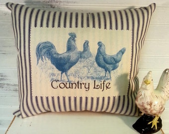 French Farmhouse Country Rooster and Hen Blue and White Ticking Pillow, Printed Pillow, Farmhouse Decor