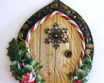 Snowflake Elf Door, Pixie Portal , Miniature Fairy Door for the Holidays, Polymer Clay Christmas Wall Decor
