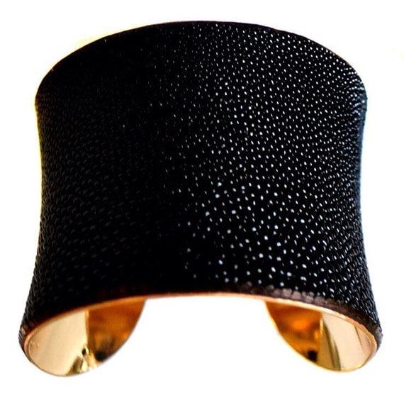 Black Stingray Gold Lined Cuff Bracelet - by UNEARTHED