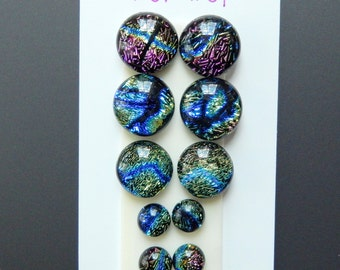 Dichroic Glass Cabs - Lot of Five Matching Pairs - Lot number 31 - Crinklized Dichro