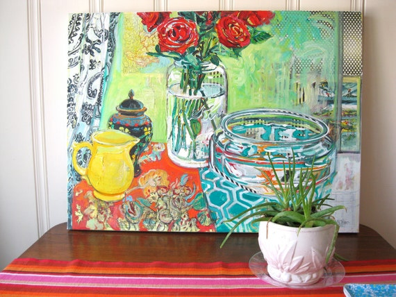 33 Years of Flowers large mixed media still Life 30 inch by 40 inch oversized original painting by Polly Jones free shipping
