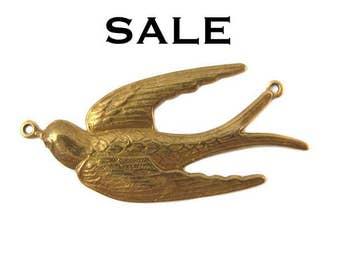 Antiqued Brass Flying Sparrow Bird Pendants - (2x) V156 - SALE 25% off