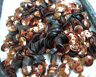 Vintage Sequins Strand COPPERY BROWN metallic couture lot Full Strand 5mm cupped