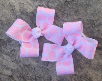 Light Pink Polka Dot Hair Bows,Pigtail Hair Bows,Non Slip Hair Bows,3 Inches Wide,Alligator Clips,Birthday Party Favors