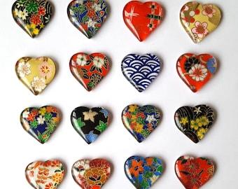 Grab Bag Assorted Glass Chiyogami Magnets. Set of 6 Heart Magnets. Magnets Made with Yuzen Chiyogami Paper.