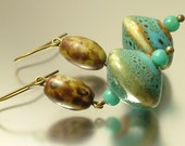 Vintage/ estate jewelry bronze finish earrings made from old retro turquoise ceramic / pottery beads - upcycled jewellery