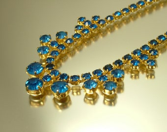 Vintage/ estate 1950s retro kitsch glam, gold tone & blue paste/ rhinestone costume necklace - jewelry jewellery , UK seller