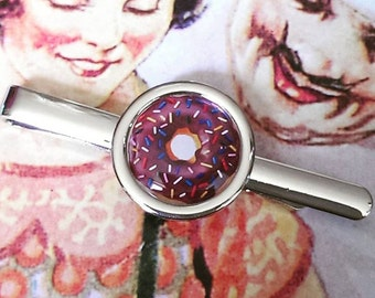 Chocolate with Sprinkles Donut Tie Clip
