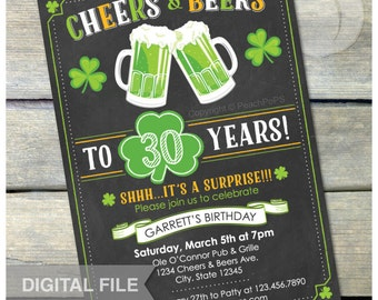 "St. Patrick's Day Surprise 30th Birthday Chalkboard Invitation Cheers & Beers Men Women St Patty Irish - 5"" x 7"" Digital Invite"
