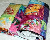 "Reserved for  Mari  DESIGNER MEDLEY Patchwork Quilt, Armchair Quilt,  Throw  51"" x 64"" minky backing"
