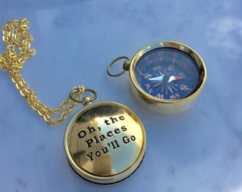 Oh, the Places You'll Go. Gold Compass Necklace, Dr. Seuss Necklace, Quote Necklace, Graduation Gift, Gift for Her