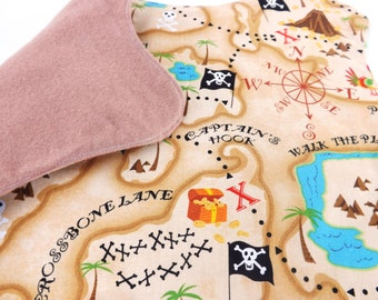 Cloth Pirate Treasure Map - Fabric Pirate Map - Pretend Play - Pirate Party Favor - Pirate Costume Accessory - Placemat - Handmade Toy Gift