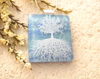 Tree of Life Necklace, Blue Necklace, Fused Glass Jewelry, Dichroic Jewelry, Glass Jewelry, Tree of Life, Glass Pendant, Silver   111315p102