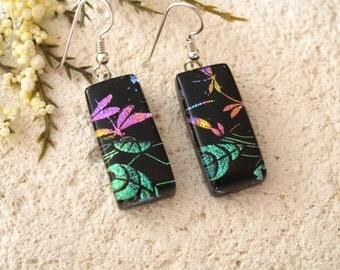 Dragonfly Earrings, Dichroic Glass Earrings, Black Rainbow Earrings, Fused Glass Jewelry, Dichroic Earrings, Sterling Silver,  122115109