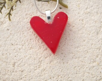 Vibrant Red Heart Necklace, Red Necklace, Fused Glass Jewelry, Heart Pendant, Glass Neckalce, Heart Jewelry, Silver Necklace, 011616p102