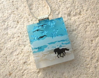 Horse Necklace, Dichroic Necklace, Horse Surf Running, Dichroic Jewelry, Fused Glass Jewelry,Dichroic Pendant, Chain Included, 042716p100