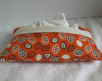 Fall Pocket Tissue Holder - Orange Leaf Tissue Cover - Fabric Tissue Case - Fall Tissue Cozy