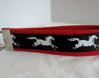 Equestrian Key Chain - Horse Key Fob -  Horses Key Chain - Mustang Keychain - Stallion Key Fob -  Horse Lover Gift - RED