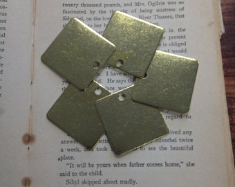 5 Brass Square Pendants - 1.5 Inch - 18 Gauge